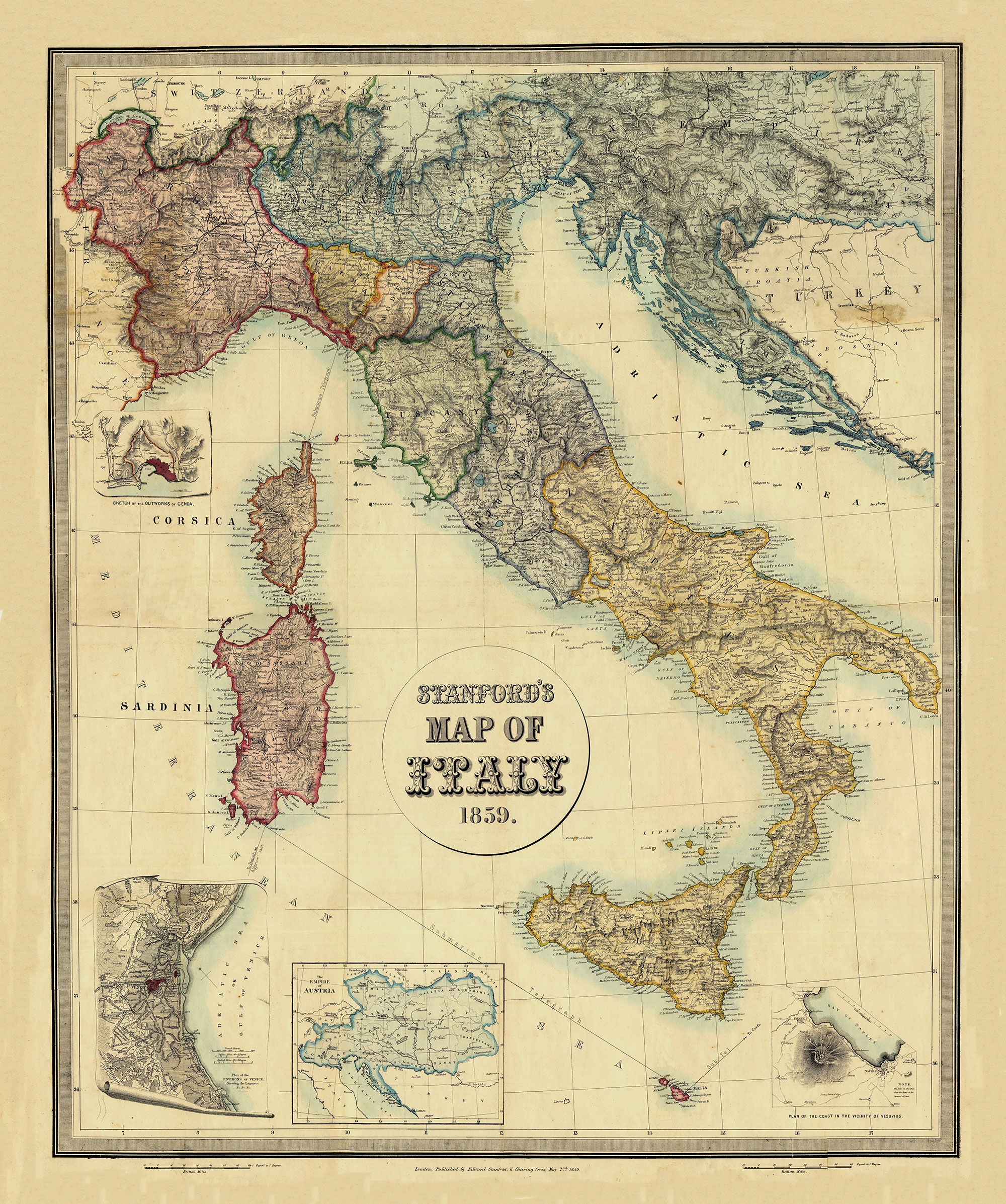 Italy On The Eve Of The Unification 1859 2000 2393 Mapporn